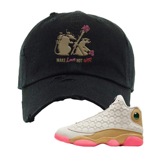 Jordan 13 Chinese New Year Distressed Dad Hat | Black, Army Rats