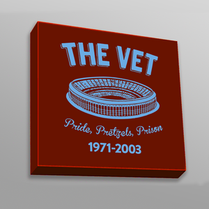 The Vet Pride, Pretzels, Prison Canvas | Veterans Stadium Maroon Wall Canvas the front of this canvas has the vet stadium