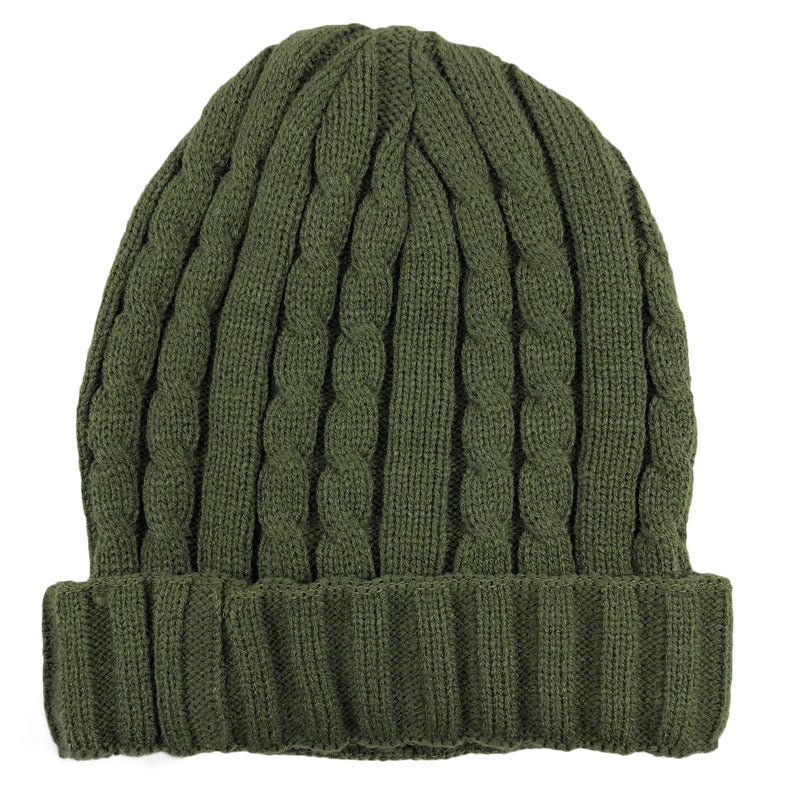 the olive thick knit beanie is an olive color and has a thick braided knit material