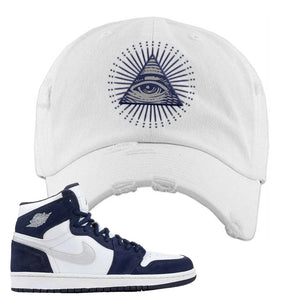 Air Jordan 1 Co.jp Midnight Navy Distressed Dad Hat | White, All Seeing Eye