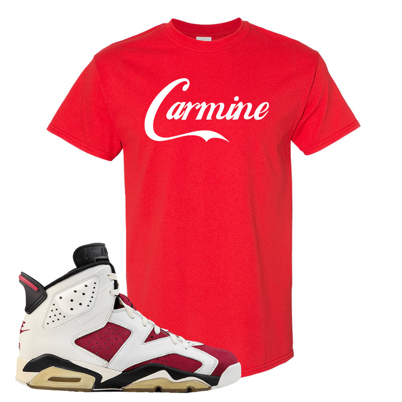 Jordan Jordan 6 Carmine Sneaker Red T Shirt | Tees to match Nike Air Jordan 6 Carmine Shoes | Carmine Script
