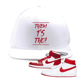 Jordan 1 New Beginnings Pack Sneaker White Snapback Hat | Hat to match Nike Air Jordan 1 New Beginnings Pack Shoes | Them 1's Tho