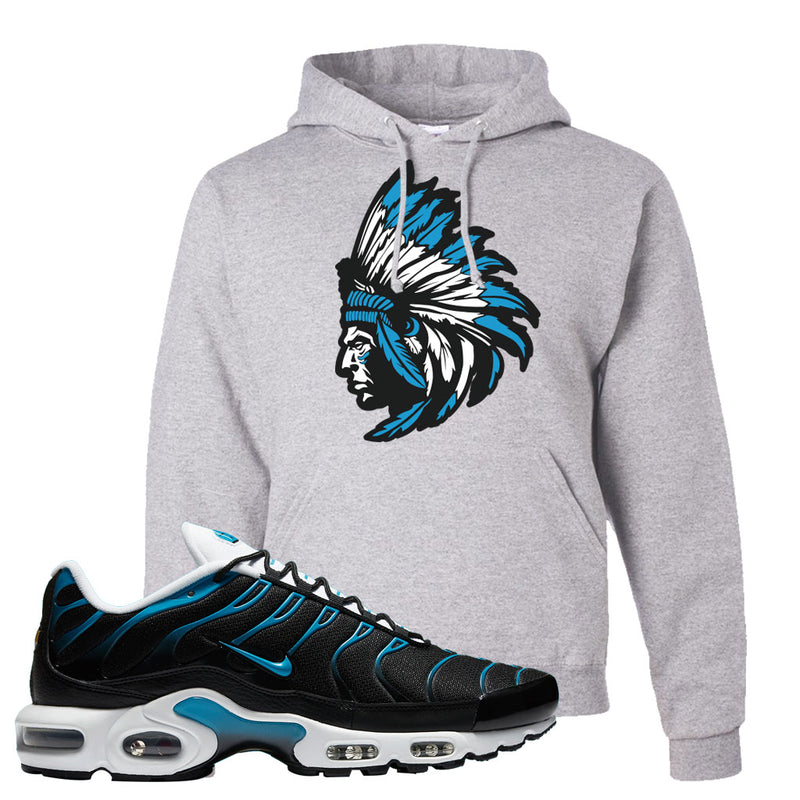 Air Max Plus Black and Laser Blue Hoodie | Indian Chief, Ash
