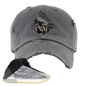Yeezy Quantum Distressed Dad Hat | Dark Gray, Indian Chief