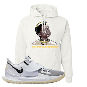 Kyrie Low 3 Hoodie | White, Watchu Talking Bout