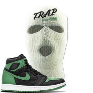Jordan 1 Retro High OG Pine Green Gym Sneaker White Ski Mask | Hat to match Air Jordan 1 Retro High OG Pine Green Gym Shoes | Trap To Rise Above Poverty