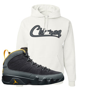 Air Jordan 9 Charcoal University Gold Hoodie | Chiraq, White