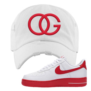 Air Force 1 Low Red Bottoms Distressed Dad Hat | White, OG