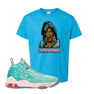 Lebron 17 South Beach Kids T-Shirt | Oh My Goodness, Heather Sapphire