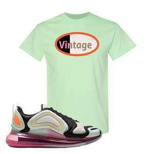 Air Max 720 WMNS Black Fossil Sneaker Mint Green T Shirt | Tees to match Nike Air Max 720 WMNS Black Fossil Shoes | Vintage Oval