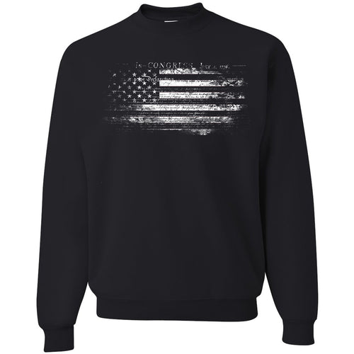 Standard Issue Constitution Distressed American Flag Black Grunt Life Crewneck Sweatshirt