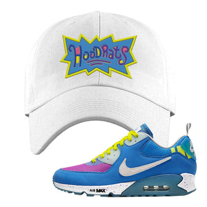 Undefeated x Air Max 90 Pacific Blue Sneaker White Dad Hat | Hat to match Undefeated x Nike Air Max 90 Pacific Blue Shoes | Hoodrats