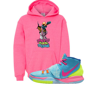 Kyrie 6 Pool Kids Pullover Hoodie | Dont Hate The Player, Safety Pink