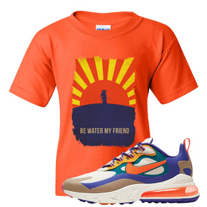 Air Max 270 React ACG Kid's T-Shirt | Orange, Be Water My Friend Samurai