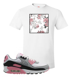 WMNS Air Max 90 Rose Pink Flower Box White T-Shirt To Match Sneakers