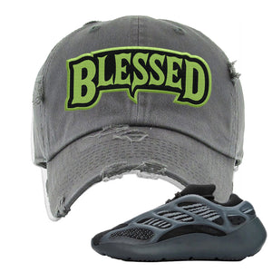 Yeezy 700 v3 Alvah Distressed Dad Hat | Dark Gray, Blesssed Arch