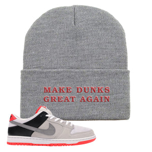 Nike SB Dunk Low Infrared Orange Label Make Dunks Great Again Light Gray Beanie To Match Sneakers