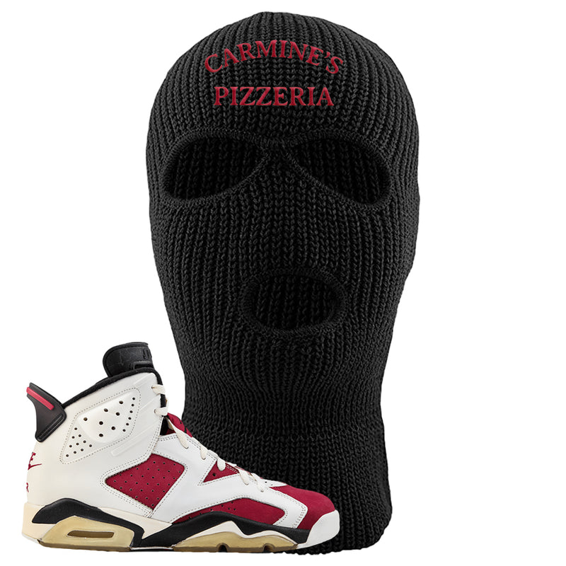 Jordan 6 Carmine Sneaker Black Ski Mask | Winter Mask to match Nike Air Jordan 6 Carmine Shoes | Carmine's Staff Hat