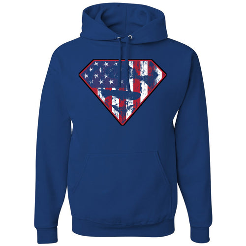 Standard Issue Diamond S Logo American Flag Distressed Royal Blue Pullover Grunt Life Hoodie