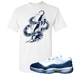 Jordan 11 Low Blue Snakeskin Snake Around Shoes White T-Shirt