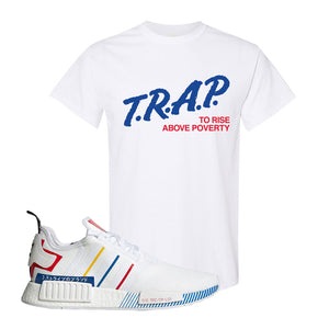 NMD R1 Olympic Pack T Shirt | White, Trap To Rise Above Poverty