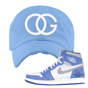 Air Jordan 1 High Hyper Royal Distressed Dad Hat | OG, Sky Blue