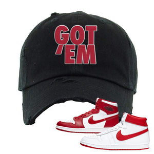 Jordan 1 New Beginnings Pack Sneaker Black Distressed Dad Hat | Hat to match Nike Air Jordan 1 New Beginnings Pack Shoes | Got Em