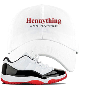 Jordan 11 Low White Black Red Sneaker White Dad Hat | Hat to match Nike Air Jordan 11 Low White Black Red Shoes | HennyThing Is Possible
