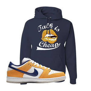 SB Dunk Low Laser Orange Hoodie | Navy, Talk is Cheap