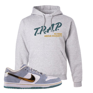 Sean Cliver x SB Dunk Low Hoodie | Trap To Rise Above Poverty, Ash