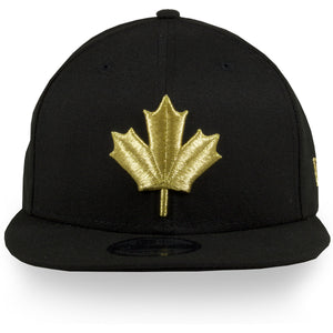 Front of Raptors Black snapback | Toronto Raptors 2019 Nba city series metallic leaf black 950 snapback