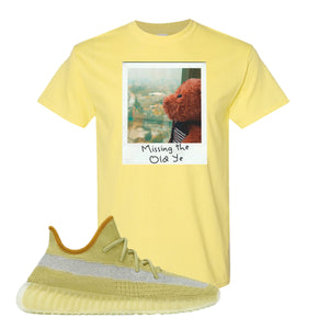 Yeezy Boost 350 V2 Marsh Missing The Old Ye Cornsilk T-Shirt To Match Sneakers