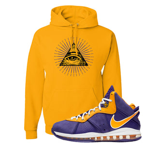 Lebron 8 Lakers Hoodie | All Seeing Eye, Gold