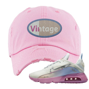 Air Max 2090 Airplane Travel Distressed Dad Hat | Vintage Oval, Light Pink
