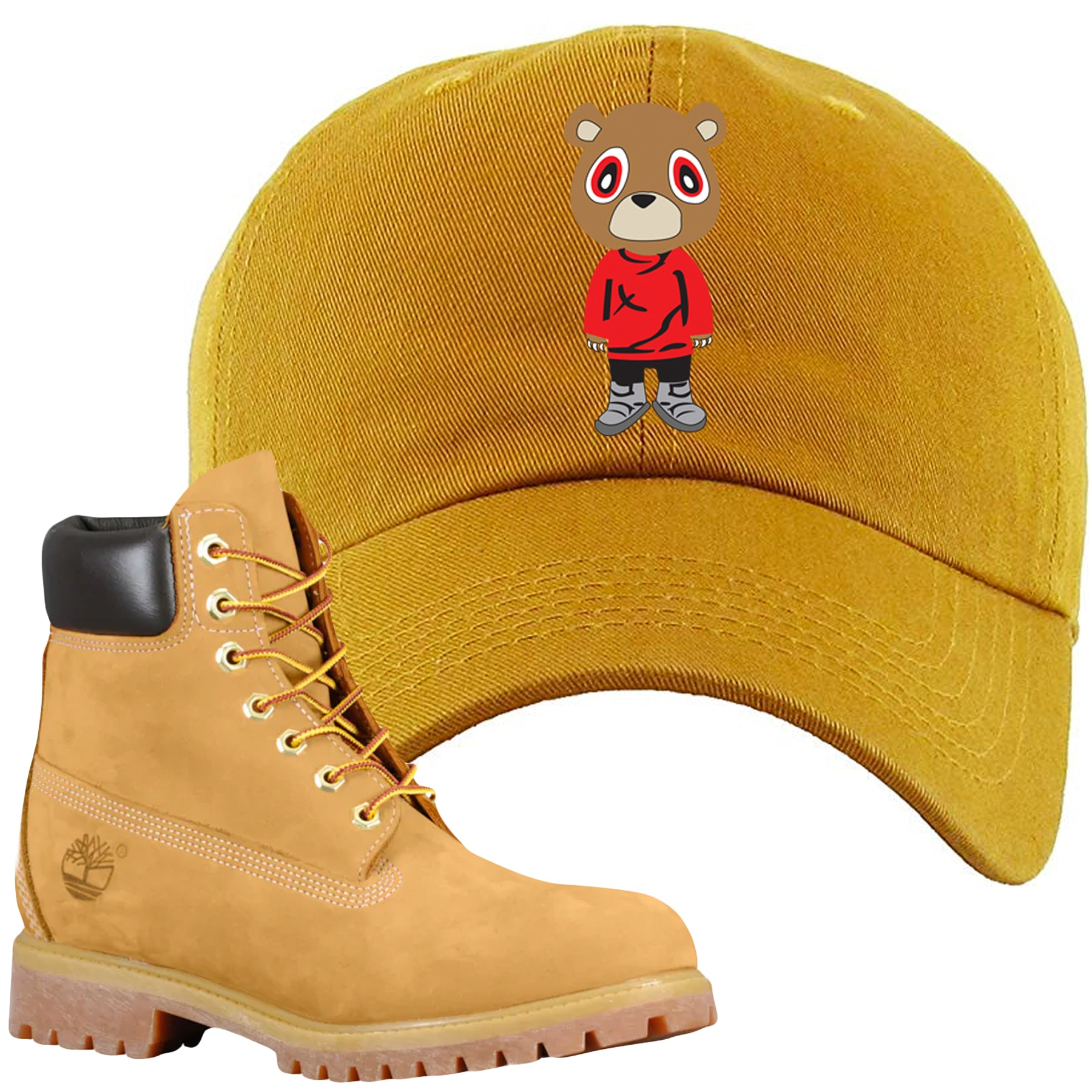eb38abd58af Embroidered on the front of the Wheat Timbs matching timberland boot dad hat  is the matching