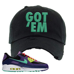 Air Max 90 Cheetah Distressed Dad Hat | Got Em, Black