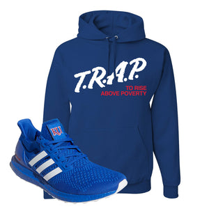 Ultra Boost 1.0 Kansas Hoodie | Trap To Rise Above Poverty, Royal Blue