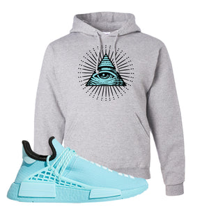 Pharell x NMD Hu Aqua Hoodie | All Seeing Eye, Ash