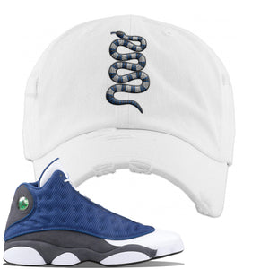 Jordan 13 Flint 2020 Sneaker White Distressed Dad Hat | Hat to match Nike Air Jordan 13 Flint 2020 Shoes | Coiled Snake