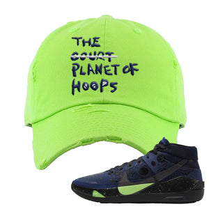 KD 13 Planet of Hoops Distressed Dad Hat | Planet Of Hoops Lettering, Neon Green