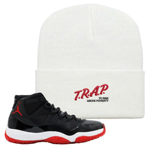 Jordan 11 Bred Beanie | White, Trap To Rise Above Poverty