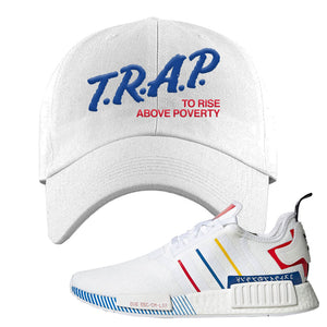 NMD R1 Olympic Pack Dad Hat | White, Trap To Rise Above Poverty