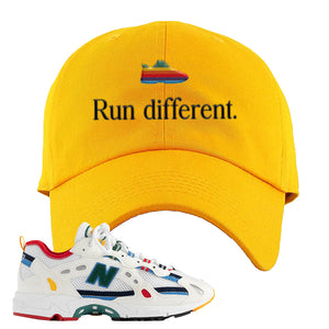 Aime Leon Dore X New Balance 827 Abzorb Multicolor 'White' Dad Hat | Gold, Run Different