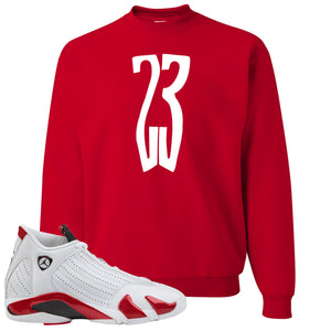 Jordan 14 Rip Hamilton 23 Red Crewneck Sweater