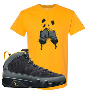 Air Jordan 9 Charcoal University Gold T Shirt | Boxing Panda, Gold