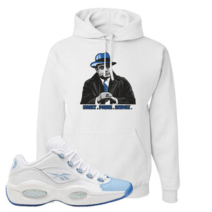 Question Low Carolina Blue Hoodie | Capone Illustration, White