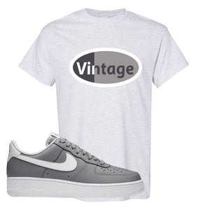 Air Force 1 Low Wolf Grey White T Shirt | Ash, Vintage Oval