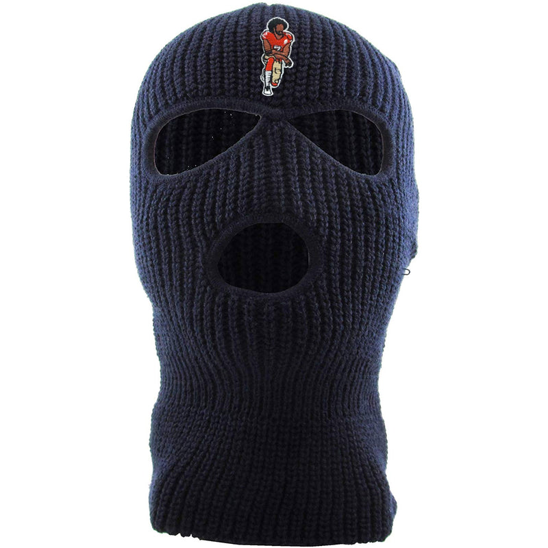 On the front of the kaepernick navy ski mask is the colin kaepernick taking a knee logo