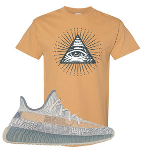 Yeezy Boost 350 V2 Israfil T Shirt | Old Gold, All Seeing Eye