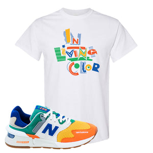 997S Multicolor Sneaker White T Shirt | Tees to match New Balance 997S Multicolor Shoes | In Living Color